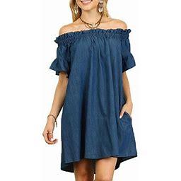 Vista Womens Dress Off Shoulder Bardot Denim Look Shirt Slash Neck Dress Summer Tops, Women's, Size: 2XL, Blue