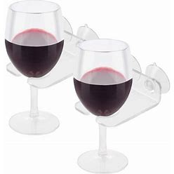 Bathtub Wine Glass Cupholder. Caddy Shower & Relax Bath With Powerful Strong Suction Cups, Clear Acrylic (2 Set)