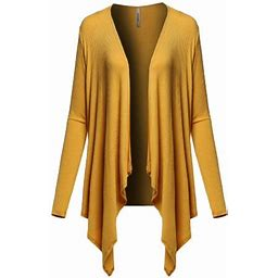 Fashionoutfit Women's Casual Solid Ribbed Open Front Long Sleeve Knit Cardigan, Size: Small, Yellow