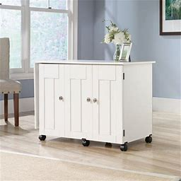 Sauder Sewing And Craft Table, Soft White Finish