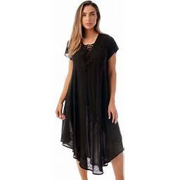 Riviera Sun Lace Up Acid Wash Embroidered Dress Short Sleeve Dresses For Women (Black, Large), Women's