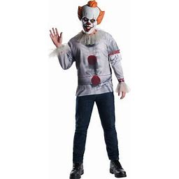 Halloween IT Pennywise Adult Costume Top, Men's, Size: Large, Gray