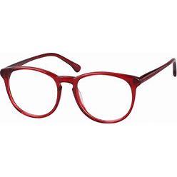 Zenni Bold Round Prescription Glasses Red Tortoiseshell Plastic Ful...