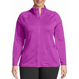 Just My Size Women's Plus Size Active Full Zip Mock Neck Jacket, Size: 4