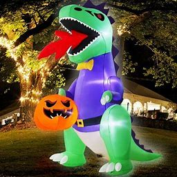 Decorx 8Ft Halloween Inflatables Blow Up Dinosaur Fire Breathing Hold Ghost Pumpkin LED Lighted Halloween Decoration Outdoor Indoor Yard Lawn Garden