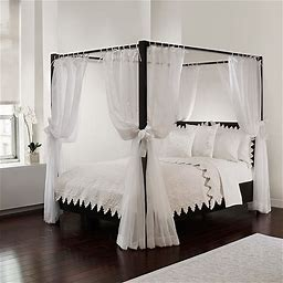 Tie Sheer Bed Canopy Curtain Set In White - Royale Linens, Inc. - Bed Curtains & Canopies - Bed Canopy - White
