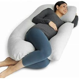 Pharmedoc Full Body Pregnancy Pillow - U Shaped Body Pillow With Jersey Cover - Maternity Pillow For Pregnant Women W/ Detachable Extension, Gray