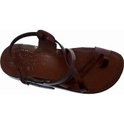 Holy Land Market Jesus Or Yashua Style I - Camel Shoemaker Unisex Outdoor Leather Biblical - Sandals From The Holy Land - Brown/European (19-19.5