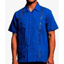 Maximos Guayabera Men's Cuban Beach Wedding Short Sleeve Button-Up Casual Dress Shirt, Size: 3XL, DENIMBLUE