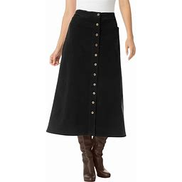 Plus Size Women's Corduroy Skirt By Woman Within In Black (16 Wide) | Spandex/Cotton
