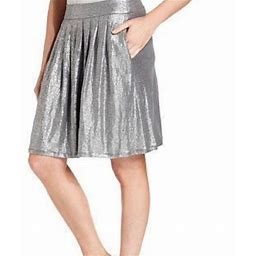 Eileen Fisher Skirts   Metallic Silver Linen Skirt - Let Yourself Shine   Color: Silver   Size: Xl