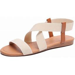 Lowestbest Sandals For Women, 001rw39ns Women's Flat Sandals Criss-Cross Open Toe Wide Elastic Strap Fashion Summer Shoes For Ladies, Beige Soft