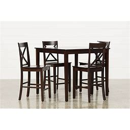 """Percy 5 Piece Counter Height Dining Table Set, Pierce - Brown - Wood - 42""""W X 42""""D X 36""""H"""