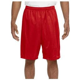 A4 Men's Moisture Wicking Tricot Performance Mesh Short, Style N5296, Size: XL, Red