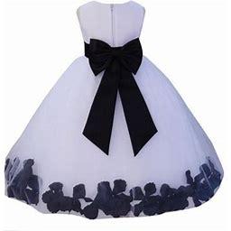 Ekidsbridal Wedding Pageant Rose Petals White Tulle Flower Girl Dress Toddler Junior Bridesmaid Recital Easter Holiday Gown Birthday Girl Dress
