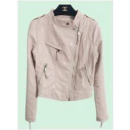 Unomatch Women Fashion Stand Collar Leather Jacket, Women's, Size: Medium, Pink