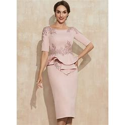 Jjshouse Sheath Column Scoop Neck Knee-Length Stretch Crepe Cocktail Dress With Beading Appliques Lace Sequins Cascading Ruffles