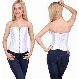 Sayfut Fashion Women's Satin Overbust Corset Intimates Lace-up Busiter Shapewear, Size: 6XL, White