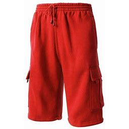 Hat And Beyond Men's Basic Casual Comfort Fleece Cargo Sweat Shorts With Drawstring, Size: Medium, Red