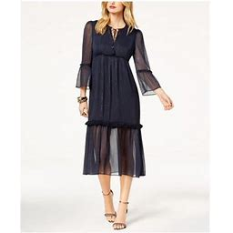 Rachel ZOE Womens Navy Metallic Crinkle Chiffon Bell Sleeve Keyhole Midi Party Dress Size XS, Women's, Blue