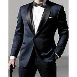 Mens Daniel Craig | James Bond | Navy Blue Tuxedo Costume, 42 Regular / Navy