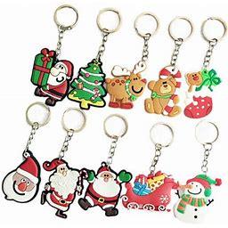 Ounona 10pcs Christmas Theme Keyring Soft PVC Keychain Creative Pendant Decorations For Car Key Purse Bag Gift (Random Pattern), Adult Unisex, Size: