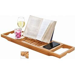DOZYANT Bamboo Bathtub Tray Caddy Wooden Bath Tray Table With Extending Sides, Reading Rack, Tablet Holder, Cellphone Tray And Wine Glass Holder