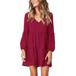 Vista Women's Long Sleeve Tunic Dress V Neck Loose Swing Shift Dresses, Size: Large, Red