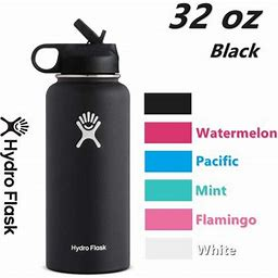 Hydro Flask 32Oz Water Bottle Stainless Steel & Vacuum Insulated With Straw Lid-Black, Men's