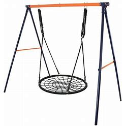 Zenstyle Outdoor Spider Swing Set - 40 Inch Tree Web Swing + 72 Inch Steel Frame Stand Combo, Adults Kids Teenagers, Size: 40 + Frame, Black