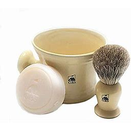 GBS Men's Shaving Set Ivory - 3 Piece Set - Pure Badger Hair Brush, Ceramic Mug & 97% All Natural Shave Soap Compliments Any Shaving Razor For The