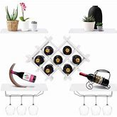 Gymax Set Of 5 Wall Mount Wine Rack Set Storage Shelves And Glass Holder White