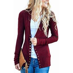 Isaac Liev Women's V-Neck Button Down Knitwear Long Sleeve Soft Basic Knit Snap Cardigan Sweater, Size: 2XL, Red