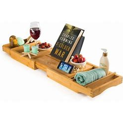 Luxury Bamboo Bathtub Caddy Tray, Expandable Sides Bath Caddy Tray (Book, Wine, Glass, Cell Phone Holder) Size: Extends From 29 ½ To 43, Green