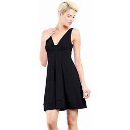 Evanese Women's Short V-neck Dress With Gathering In Center, Size: Medium, Black