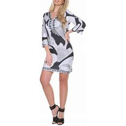 White Mark Women's 3/4 Sleeve Abstract Printed Dress, Size: Medium, White