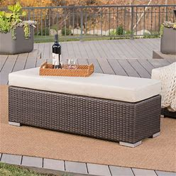 Santa Rosa Outdoor Wicker Bench With Cushion By Christopher Knight Home - Brown