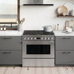 """ECFD3668AS 36"""" Dual Fuel Range With 6 Burners 4.4 Cu. Ft. Oven Capacity True Convection Continuous Cast Iron Grates And Temperature Probe In Stainless"""