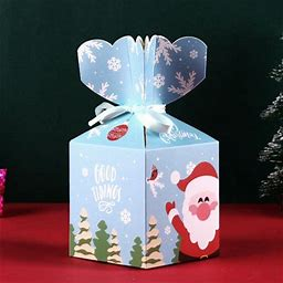 Christmas Goody Gift Boxes, Xmas Treat Boxes Paper Candy Boxes, Candy Gifts Box Carrier Creative Package Pouch For Kids' Party Supplies, Pack Of 10/20