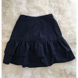 New Jcrew Tall Wool Flannel Ruffle Office Skirt Vintage Indigo G8871 Size 8t