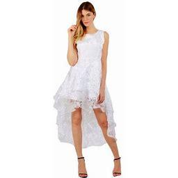 Xinhuaya Summer Women's Princess Formal Prom Party Dress Girls Mesh Ball Gown Evening Irregular Dress, Size: XL, White