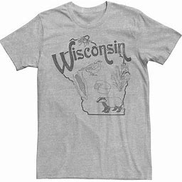 Men's Wisconsin Landmarks Map Sketch Tee, Size: Small, Med Grey