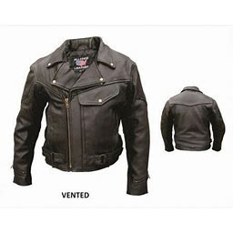 Men's 62 Size Vented Premium Buffalo Black Leather Full Sleeve Zip Out Lining Biker Jacket With Snap Closure