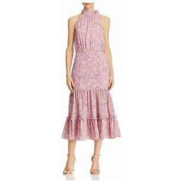 Likely Womens Mona Floral Ruffles Midi Dress, Women's, Size: 12, Pink