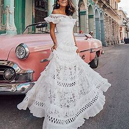 Women's A-Line Dress Maxi Long Dress - Short Sleeve Solid Color Ruffle Spring & Summer Off Shoulder Hot Holiday Beach Vacation Dresses Lace White S 0
