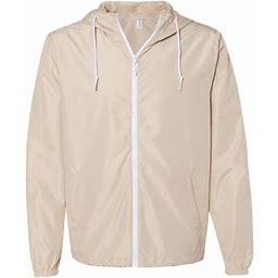 Independent Trading Co. - New Iwpf - Men - Unisex Lightweight Windbreaker Full-Zip Jacket, Adult Unisex, Size: Small, Beige