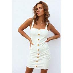 Feinuhan Women Slip Dress Spaghetti Strap Button Up Sexy Backless Sleeveless Dresses, White, Small, Women's