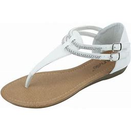 Star Bay New Women's Fashion Jewel Casual Crystal Double Buckles Strap Thong Flat Sandal White, Size: 6