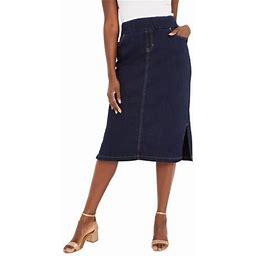 Jessica London Women's Plus Size Comfort Waist Midi Skirt Elastic Waist Stretch Denim, Size: 24, Blue