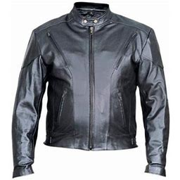 Allstate Leather Men's 44 Size Analine Cowhide Leather 2 Front Zippered Pockets Full Sleeve Biker Jacket With Antique Brass Hardware, Black